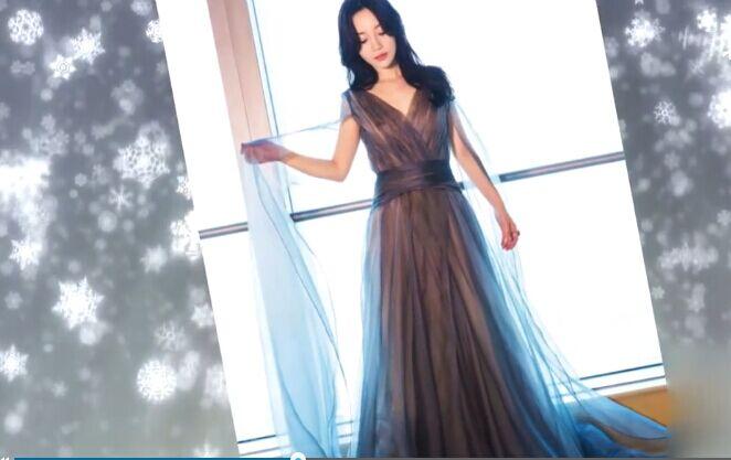 李小璐穿一袭深V拖地纱裙有点仙,原来你这么美!