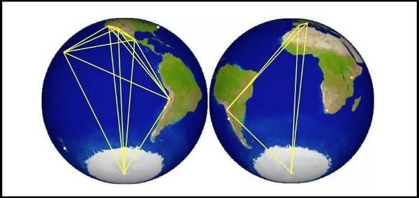 """▲▼图中的黄色线条为连接这些望远镜的""""基线"""",由此构成了一架和地球大小相当的望远镜。(图/翻摄自EHT COLLABORATION)"""