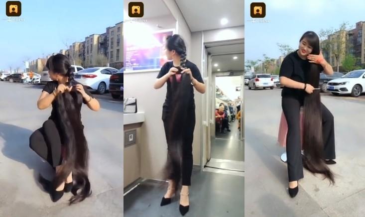 ▲河南长发公主,头发长达180公分。(图/翻摄自梨视频)