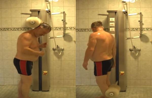 """▲▼工程师发明""""懒人洗澡机"""",10分钟帮你从头洗到脚。"""
