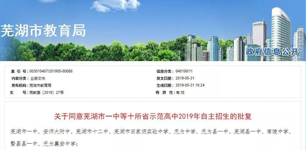芜湖2019有哪些高中自主招生 芜湖一中招多少人