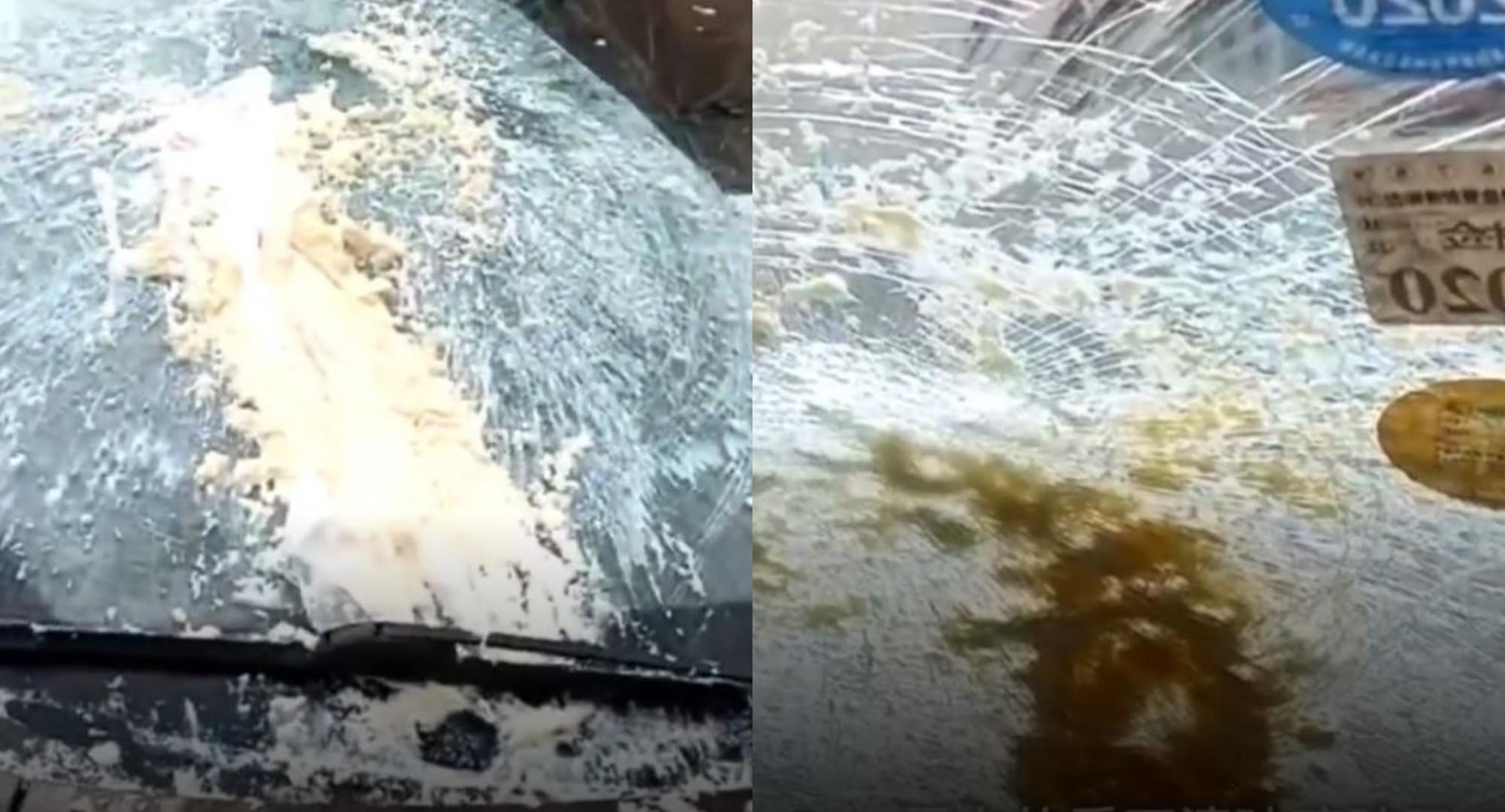 ▲▼  挡风玻璃被豆腐砸碎。(图/翻摄自梨视频)