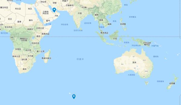 ▲▼ 阿拉伯富豪预计从赫德岛(右下标点)拖行冰山至阿拉伯联合酋长国(左上标点)。