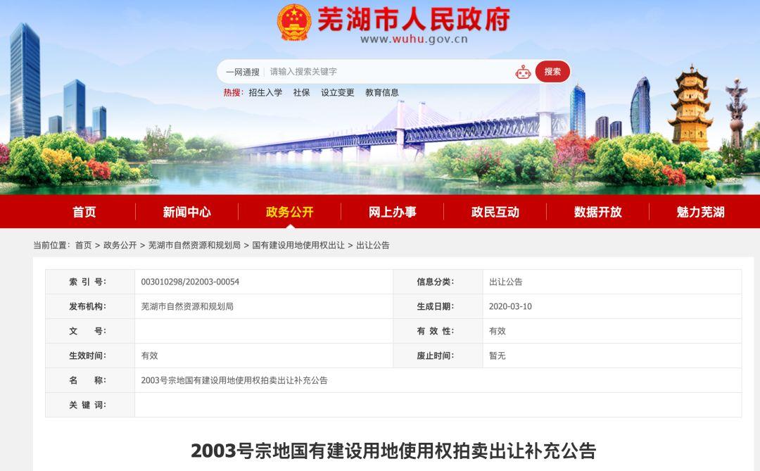 最新!芜湖城东2003号宗地拍卖条件更改!调整了这些…